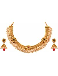JFL - Traditional Ethnic One Gram Gold Plated Stone & Pearls Designer Necklace Set With Jhumka Earring For Women...