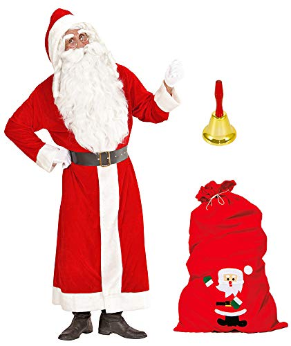 Weihnachtsmann Kostüm Nikolaus Mantel + Geschenkesack Filz + Glocke