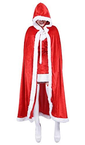 Deluxe Plüsch Santa Kostüm - ShineGown Unisex Weihnachten Halloween Roter Umhang