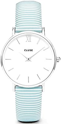 Watch Cluse Minuit Silver White / Sky Blue Stripes CL30028