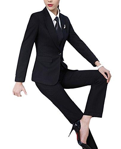 SK Studio Damen Anzugjacke Slim Fit Blazer Reverskragen Karriere Hosen Anzug Set Schwarz 32 Tag M