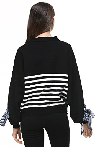 Vogueearth Fashion Femme's Lantern Manche Stripe Knit Sweater Chandail Tricots Button Cardigan Noir