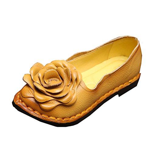 Vogstyle Femme Fleur en Cuir Slip-on Art 5 Gelb
