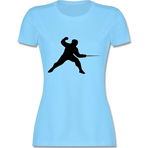 Kampfsport Fechten tailliertes Premium TShirt mit Rundhalsausschnitt für  Damen Hellblau