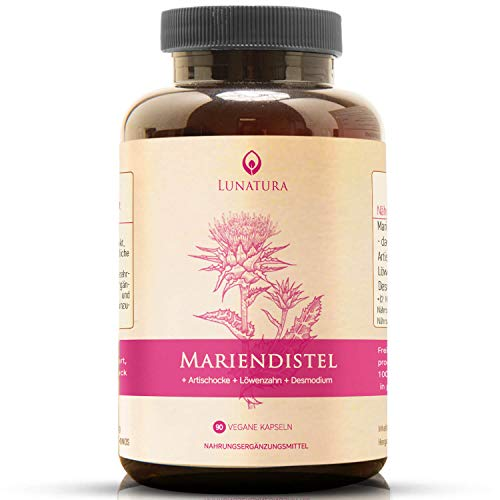 Mariendistel [HOCHDOSIERT] » aus naturbelassenen Mariendistelsamen + Artischocken + Löwenzahn + Desmodium « mit 80% Silymarin (90 Vegane Kapseln, keinerlei Zusatzstoffe)