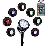 Lumière De Paysage Changeante De Couleur Extérieure RVB, Lampe Décorative 12W LED...