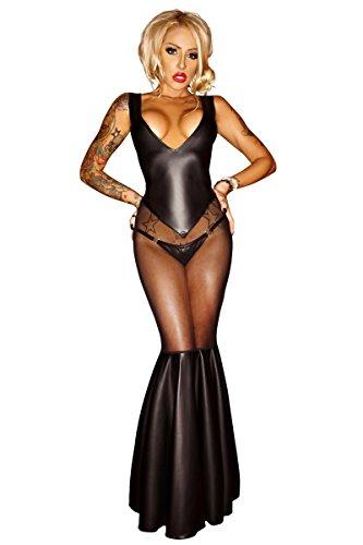 Et Chemise Noire Kostüm Noir - Noir Handmade Schwarzes erotisches langes Wetlook Kleid rückenfrei mit Metallkette Damen Dessous Wetlook Kostüm 4XL