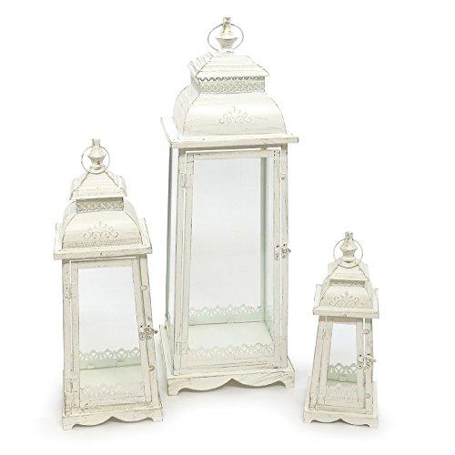 """Set di 3 Laterne """"Lugano"""", colore bianco crema anticato, in metallo, a base esagonale, con decorazioni ornamentali"""