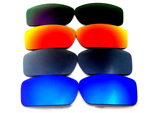 Galaxylense Ersatzgläser für Oakley Gascan schwarz & lila & grün & rot Color Polarisierend 4 Paare,GRATIS S&H - Blau & Grau & Rot & Lila, regular