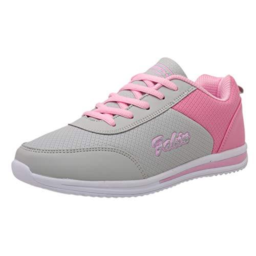 Xmiral Sneakers PU Schuhe Gummisohle Damen Riemchen Runde Zehe Patchwork Turnschuhe Wanderschuhe Sportschuhe Gummiband Rutschfest Fitnessschuhe(Grau,40 EU)