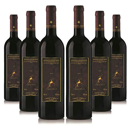 Vin d'Héphaïstos (6 x 750ml) Bio edel Rotwein trocken | Sortenrein Capernet Sauvignon & Limnio & Fokiano | Aus kontrolliert biologischem Landbau auf vulkanischem Boden | Premium Qualität