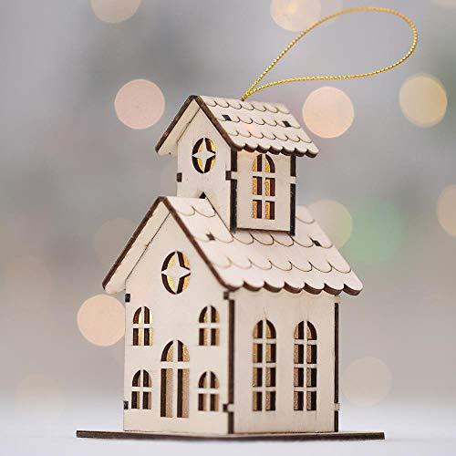 SPFAZJ Noël en Bois Nouveau Noël Glow Chalet créatif Noël Neige Maison avec lumières colorées Ornement de Chalet en Bois S