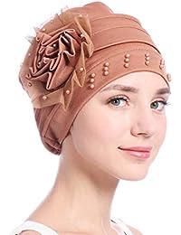 Élégant turban femme, femme perle élégante bonnet casquette multifonctions  foulard chapeau de chimiothérapie Chapeau Casquette 4270f34e682