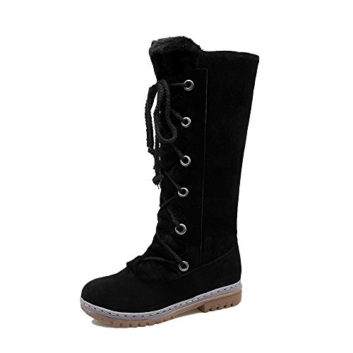 AgeeMi Shoes Damen Rein Schnüren Niedriger Absatz Hoch-Spitze Stiefel,EuX135 Schwarz 41