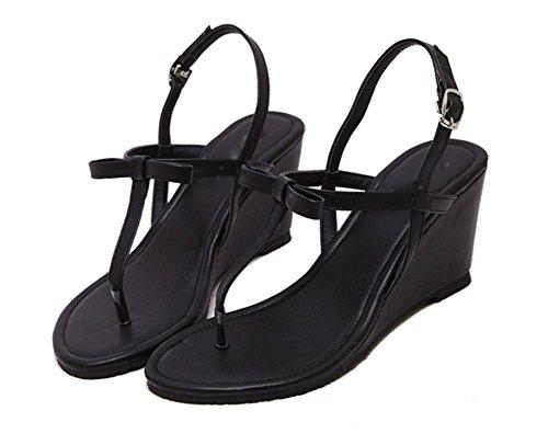 sandales mode casual d'été sandales orteil clip avec des sandales à talons hauts épais Black