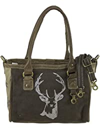 e616ce302e5cc Domelo Tracht Damen Trachtentasche Dirndltasche kleine Shopper Handtasche  Handgelenktasche Vintage Tasche Canvastasche…