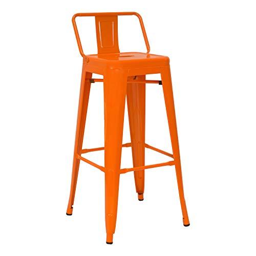 Vaukura Taburete Alto con Respaldo Oliix Brillo (Naranja)