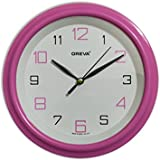 Ajanta (Oreva) Quartz Small Size (20.5 Cm X 20.5 Cm) Plastic Round Shape Wall Clock For Home And Office (Pink)