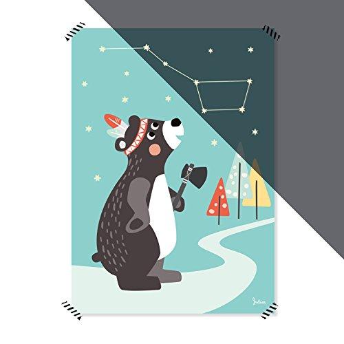 Julica Design Poster Kinderzimmer | Sterne Nachtleuchtend | Großer Bär | Wand-Bild | Wand-Deko für Kinder und Baby-Zimmer | Größe 50 X 70
