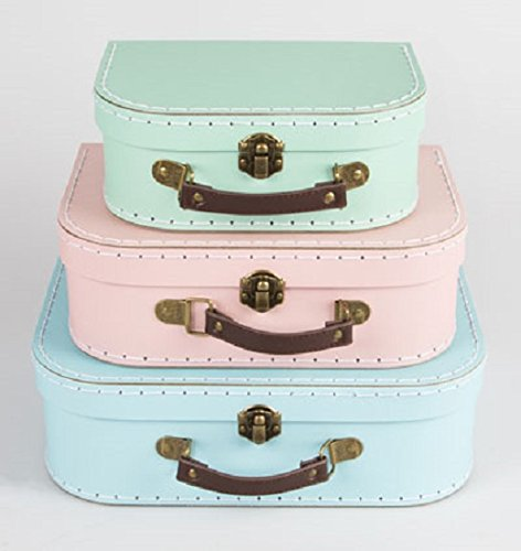 Sass & Belle Pastel Set of 3 Retro Suitcases