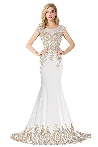 Babyonline A-Linie Lang Chiffon Perlen Herz-Ausschnitt Abendkleid Ballkleid Brautjungfernkleid 38