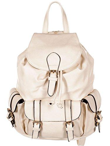 Lucky Star Damen Rucksackhandtasche - Backpack - Rucksack, 28x31x16 cm (BxHxT), T999-Beige