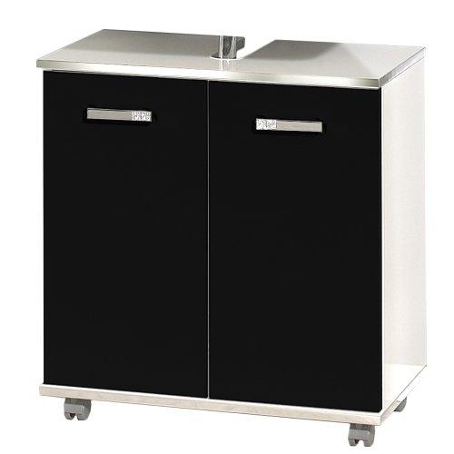 Schildmeyer 118524 Waschbeckenunterschrank, 60 x 63,5 x 32,5 cm, schwarz hochglanz