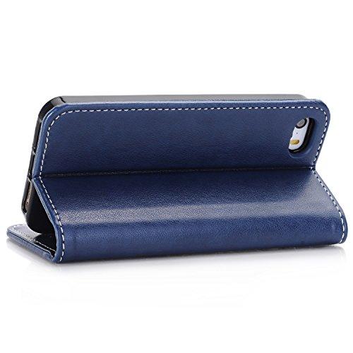Migliore Choise Flip Case per iPhone 5& 5S & SE Rose in rilievo in pelle PU portafoglio Shell folio standabdeckung w titolare in chiusura magnetica regalo perfetto blu scuro