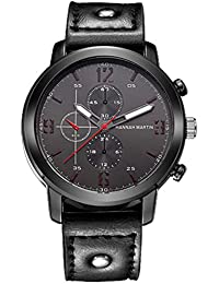668a181e7274a2 MODIWEN Uomini decorativi del cronografo di numeri arabi orologio al quarzo  con cinturino in pelle orologio