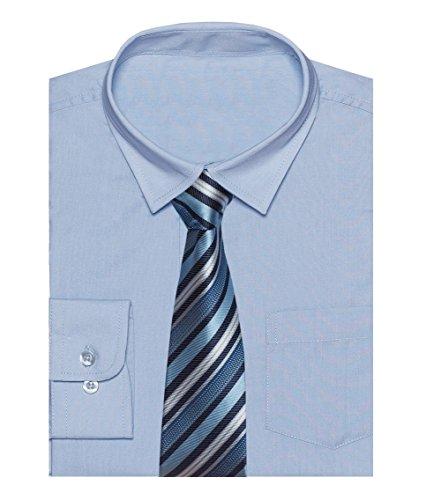 ZipZappa Hochzeit Kinder Langärmlig Festlich Gekleidet Klassisch Hemden Jungen-Shirt & Krawatten Set (9-10 Jahre, Himmel Blau) (Krawatten Shirt Blau)