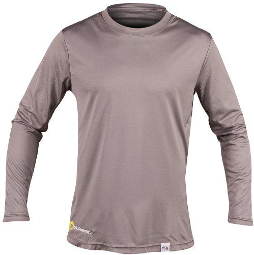SUPreme Men's UV Shield - Long Sleeve Rash Guard Top, Smoke, Small - Standup Paddleboarding, Swimming, & Water Sports