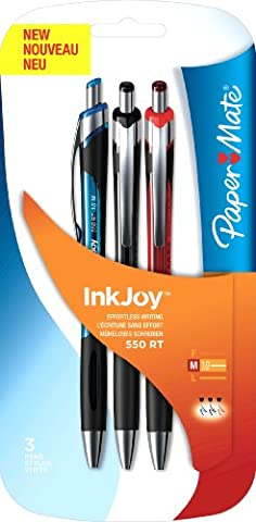 PaperMate InkJoy 550 RT Retractable Ball Pen with 1.0 mm Medium Tip - Assorted Standard Colours, Pack of 3