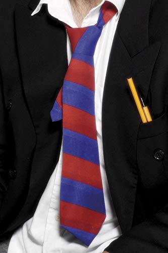 Smiffys Unisex Schulkrawatte, One Size, Rot und Blau, ()