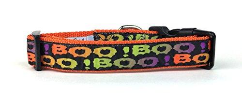 Midlee Boo. Halloween Nylon Band Halsband Hund, Medium, Orange (Klassische Männlich Halloween-kostüme)