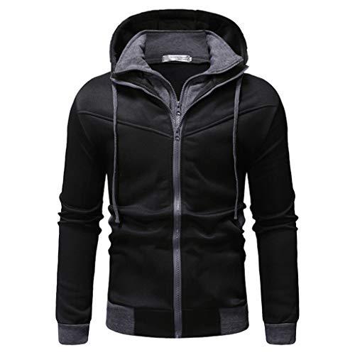 Felicove Herren Herbst Mantel Gewinner Langarm Spleißen Sweatshirt Top T-Shirt Bluse Jacke Mantel Wintermantel Winterjacke (Fell Reverskragen-mantel)