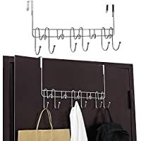Vivo Technologies 11 Hanging Hook Over The Door Hanger Organiser Rack Coats Bath Towels Hat Purses Clothes Hat Chrome
