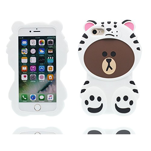 "Hülle iPhone 6s Plus Cover 3D Cartoon Bär Honey, TPU Flexible Durable Shock Dust Resistant iPhone 6 Plus Handyhülle 5.5"", iPhone 6S Plus case 5.5"" Weiß"