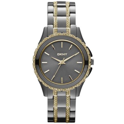 DKNY NY8700 - Reloj analógico de cuarzo para mujer, correa de acero inoxidable chapado color gris