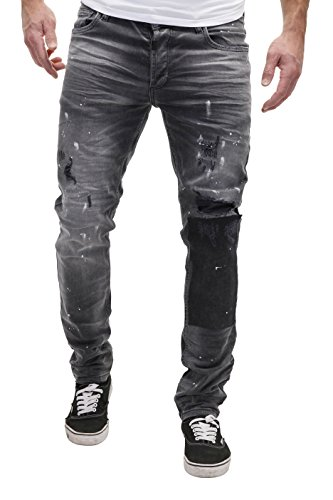 Merish Jeans Destroyed Herren Used Look Patched Blue Hose Chino Denim J2071 Schwarz W32