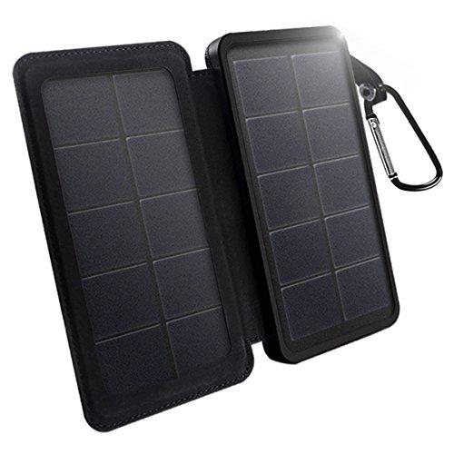 Solar-panel Die Für Reise (X-DNENG Solar Ladegerät 10.400mAh, tragbare Solar Power Bank Externe Batterie-Sicherung mit High-Effizienz SunPower Doppelseitige faltbare wasserdichte Solar-Panel Dual USB-Ports Super helles LED-Licht f¨¹r iPhone6 / 6s / 7/7 Plus, iPad, Samsung Galaxy S7 S8 Und Android Smartphones)