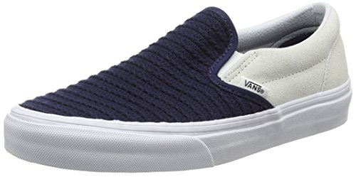 Vans Unisex-Erwachsene Classic Slip-On Low-Top, Mehrfarbig (Suede/Woven navy blue/true white), 38 EU (Vans Blue Suede)