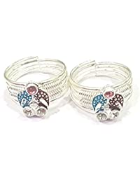 Antique Silver Toe Ring (With Adjustable Size) 1 Pair Exclusive By AMMAN For Women Girls