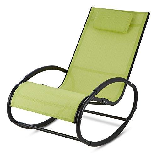 Blumfeldt Retiro - Fauteuil à bascule relaxant en aluminium rocking chair avec coussin appuie-tête (protection caoutchouc sur accoudoirs, surface polyester résistante) – vert