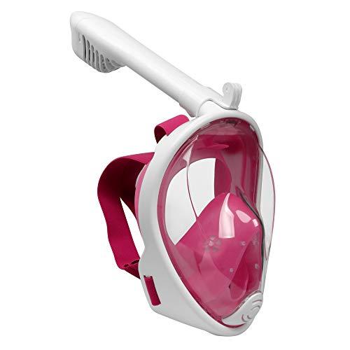 Emsmil Kinder 180°Schnorchelmaske Tauchmaske Schnorchelset Vollmaske Taucherbrille mit Anti Fog und Anti Leak Easybreath für GoPro Schwimmen und Tauchen Kinder XS Pink