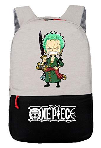 Cosstars One Piece Anime Backpack Bolso de Escuela Bolsa de Portátil Mochila de Viaje con Puerto de Carga USB Negro/16