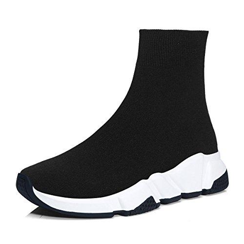 RoseG Herren Damen Mode Sliper Schuhe Unisex Leichte Atmungsaktive Sneakers Outdoor Turnschuhe Schwarz/Weiß Size39