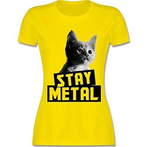 aaf6b27f061e3 Shirtracer Metal - Stay Metal Katze - Damen T-Shirt Rundhals Lemon Gelb