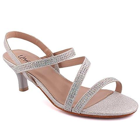 Unze Femmes 'Numera' Diamante Embellis Strappy Bas-Mid Talon Stiletto Soirée Soirée Carnaval Rejoignez Brunch Wedding Talon Sandales Court Shoes Taille 3-8