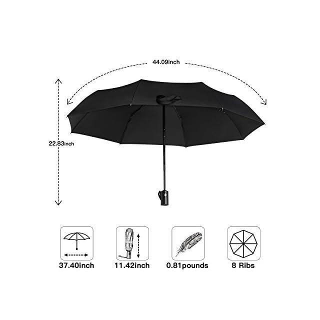 SHINE HAI Parapluie pliant de voyage, ouverture et fermeture automatique, coupe-vent, compact et pliable