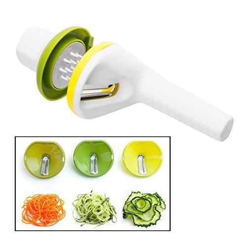Itian 3 in 1 Spiralschneider Hand für Gemüsespaghetti kartoffel,Gurkenschneider Gemüseschneider mit Drei Funktionen Klingen